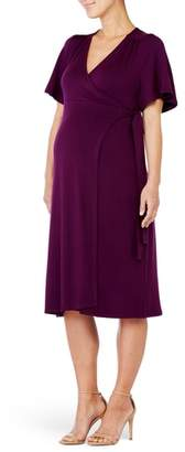 Ingrid & Isabel R) Flutter Sleeve Knit Wrap Maternity/Nursing Dress