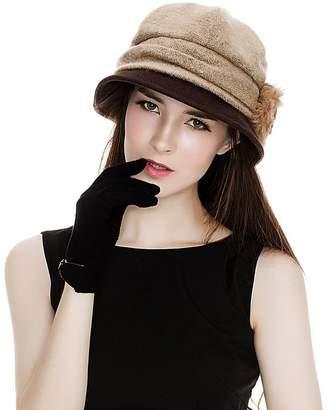 Siggi Cloche Round Hat for Women 1920s Winter Bucket Vintage Hats Flower Accent, Pink