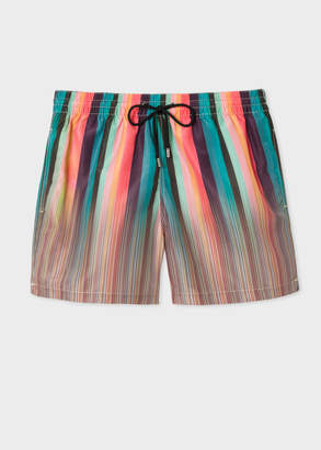 Paul Smith Men's Mixed-Stripe Print Swim Shorts