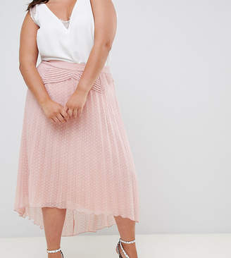 Asos DESIGN Curve dobby pleated high low midi skirt with pintuck detail