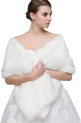 Sarahbridal Ivory Bridal Wedding Faux Fur Long Shawl Stole Wrap Shrug Scarf 17013