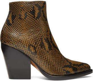 Chloé Tan Short Snake Boots