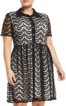 Avantlook Office Lady Lace Shirtdress, Plus Size