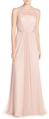 Women's Monique Lhuillier Bridesmaids Illusion Inset Tulle Gown $280 thestylecure.com