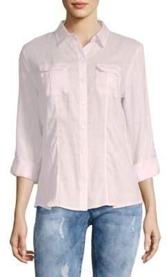 Saks Fifth Avenue Classic Linen Roll Tab Shirt