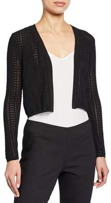 Theory Open-Front Cropped Crochet Cardigan