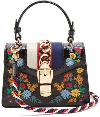Gucci Sylvie mini floral-embroidered shoulder bag