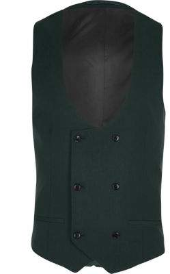 River Island Dark green double breasted suit vest
