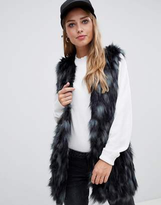 Urban Code Urbancode vest in mottle bottle faux fur