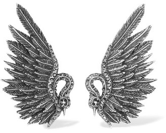 Lanvin - Antiqued Silver-tone Crystal Clip Earrings $540 thestylecure.com
