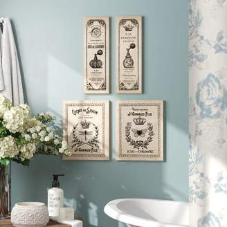 +Hotel by K-bros&Co One Allium Way 'Classic French Inspired Hotel Bath Panels and Signs; Cologne and Savon' Graphic Art Print Set Format: Wrapped Canvas