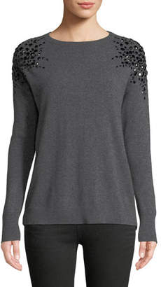 Neiman Marcus Embellished Long-Sleeve Cashmere Sweater