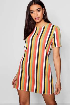 boohoo Tonal Stripe Short Sleeve Shift Dress