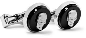 Alexander McQueen Skull Silver-Tone Onyx Cufflinks - Men - Black