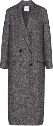Agnona Herringbone Double-Breasted Wool-Blend Coat