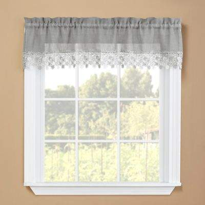 Lillian Kitchen Window Valance in Grey