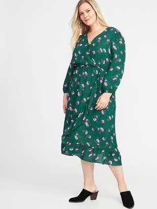 Old Navy Waist-Defined Plus-Size Faux-Wrap Georgette Dress
