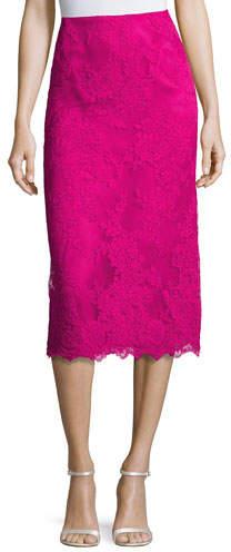 Marchesa Lace Pencil Skirt, Fuchsia