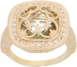 Delatori DeLatori 14K Gold Plated Green Quartz Cushion Cut Ring, 6.50 ctw