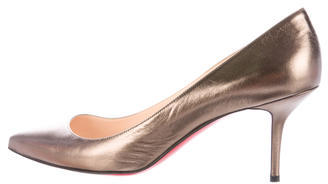 Christian Louboutin  Christian Louboutin Metallic Pointed-Toe Pumps