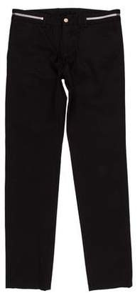 Givenchy Woven Zipper-Accented Flat Front Pants