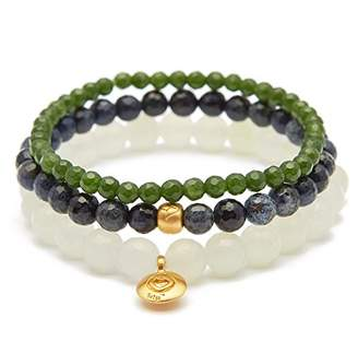 Satya Jewelry Women's New Jade Dumortierite Taiwan Jade Gold Heart Lotus Stretch Bracelet Set