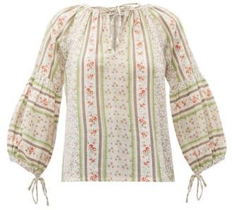 D'Ascoli Devon Floral Print Cotton Blouse - Womens - Pink