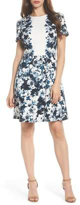 Maggy London Harlequin Texture Print Fit & Flare Dress