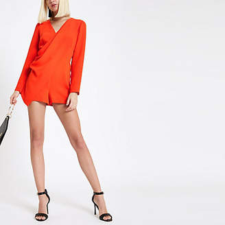 River Island Womens Red wrap front long sleeve playsuit