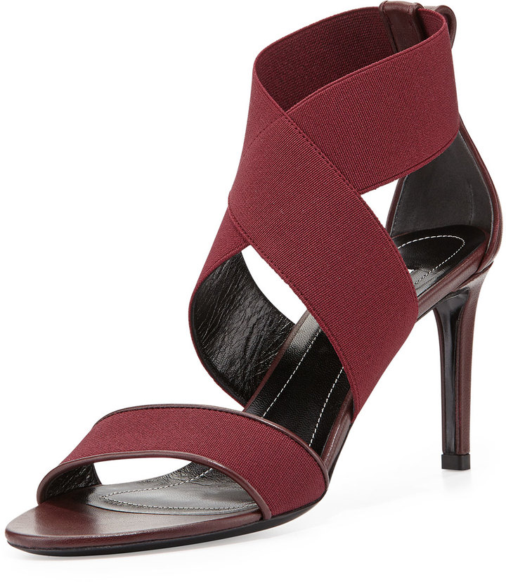 Balenciaga Elastic Crisscross Sandal, Prune