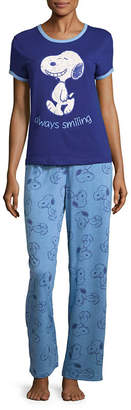 Asstd National Brand Snoopy Short Sleeve Pant Pajama Set