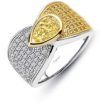 Lafonn Red Carpet Sterling Silver Platinum Plated Lassire Canary Ring (2.33 CTTW)