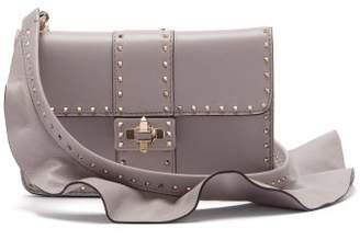 Valentino Rockstud Ruffle Strap Cross Body Leather Bag - Womens - Light Grey