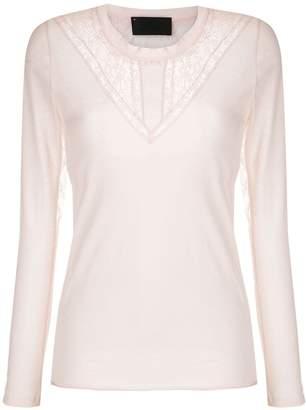 Andrea Bogosian lace panels long sleeved blouse