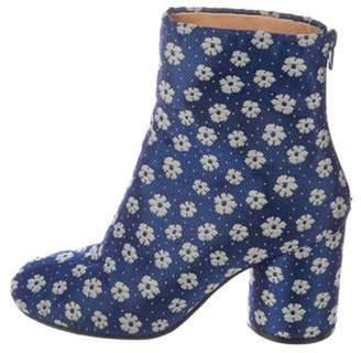 Maison Margiela Floral Ankle Boots Blue Floral Ankle Boots