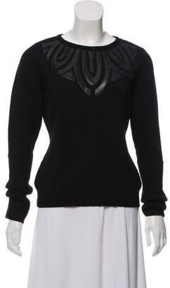 Andrew Gn Leather-Trimmed Virgin Wool Sweater