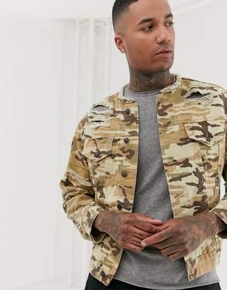 SikSilk denim jacket in camo print