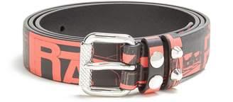 Prada Comic-strip print leather belt
