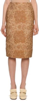Valentino Floral-Tartan Below-the-Knee Pencil Skirt