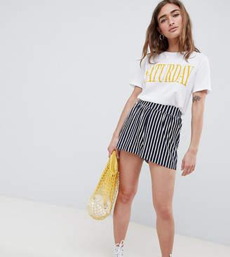 Asos Design Petite Culotte Shorts In Easy Stripe