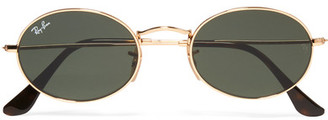 Ray-Ban - Icons Oval-frame Gold-tone Sunglasses $150 thestylecure.com