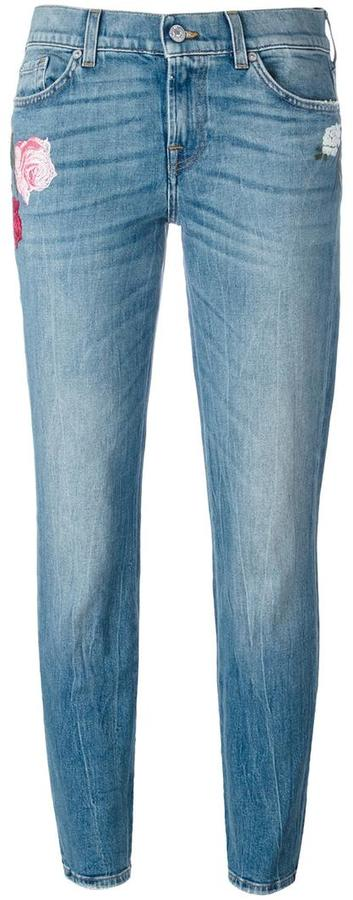 7 For All Mankind floral embroidery jeans