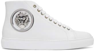 Versus White Lion Head High-Top Sneakers