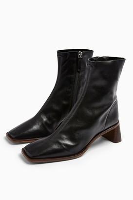 Topshop MAJA Leather Black Sock Boots