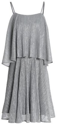 Halston Layered Plissé Lamé Mini Dress