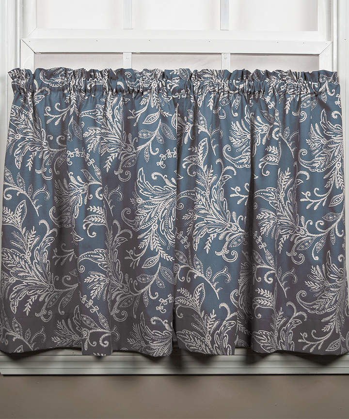 Blue Floating Leaves Tailored Curtain Tier