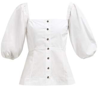 Ganni Square Neck Balloon Sleeve Cotton Poplin Blouse - Womens - White