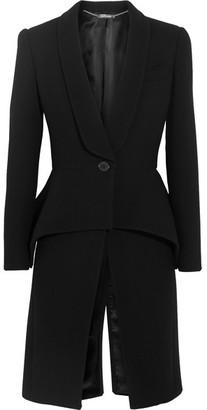 Alexander McQueen - Wool-blend Crepe Peplum Coat - Black $2,545 thestylecure.com