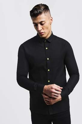 boohoo Slim Fit Long Sleeve Shirt With Neon Yellow Buttons