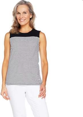 Denim & Co. Striped Sleeveless Round Neck Top
